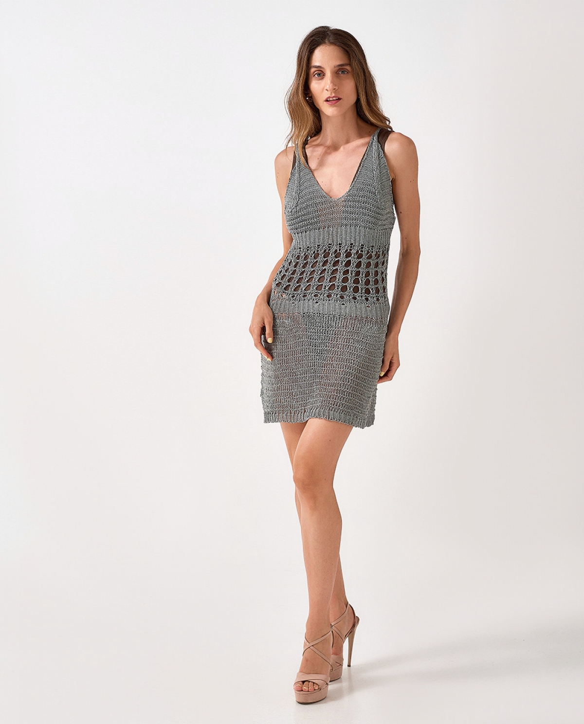 Mini Laced Grey Dress