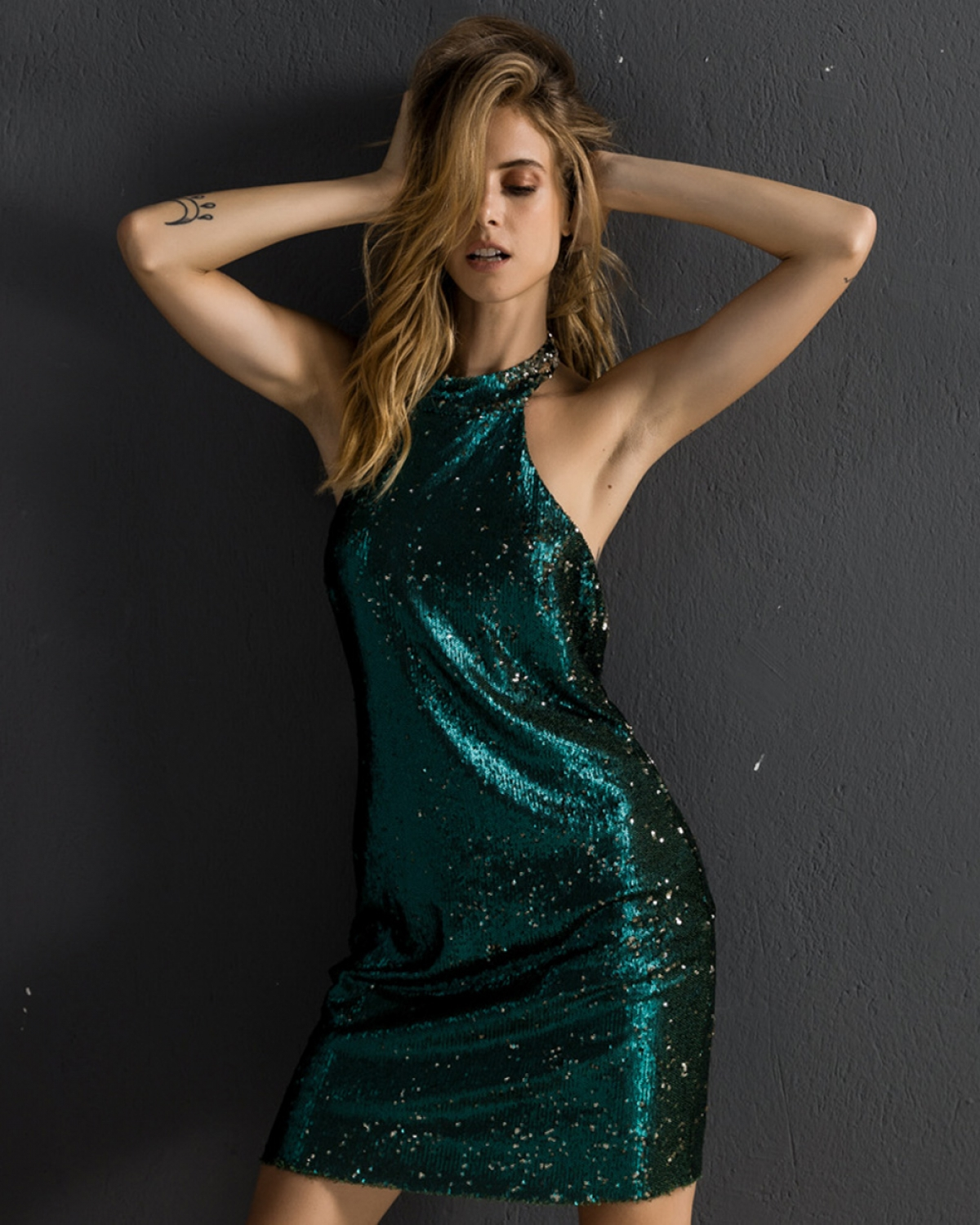 Mini Sequined Emerald Dress
