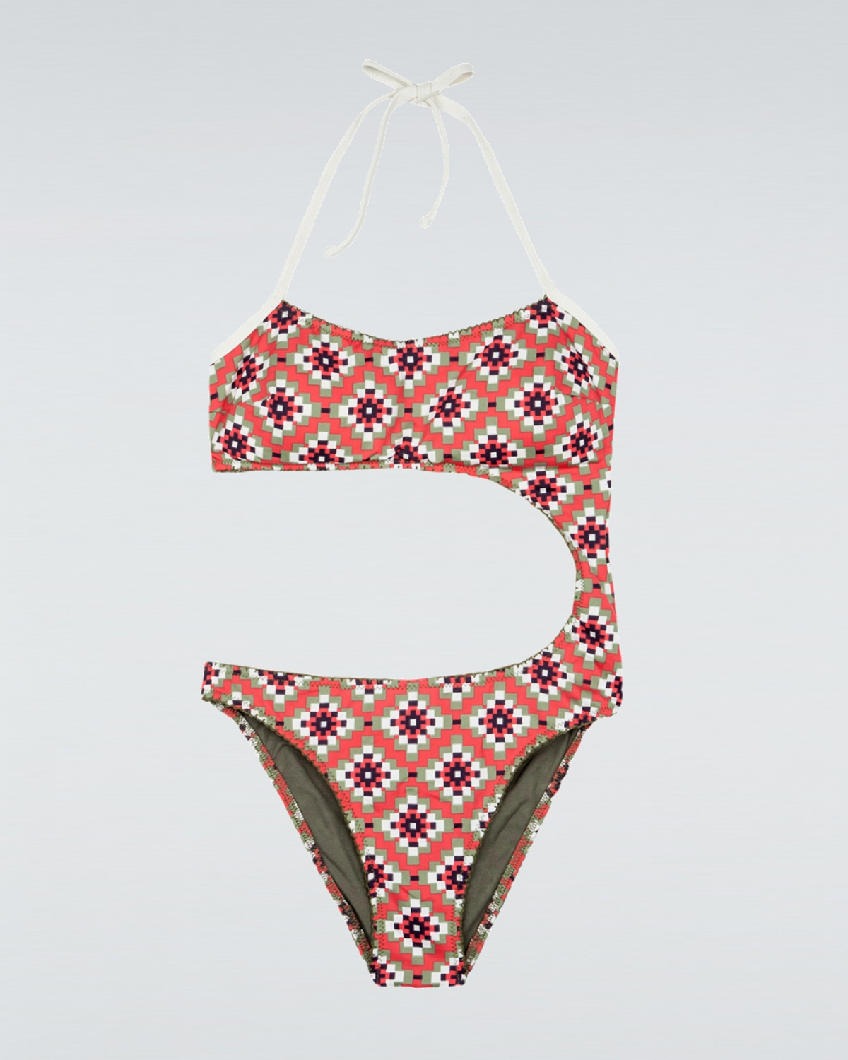 Natalia Red Squared Cutout Swimsuit