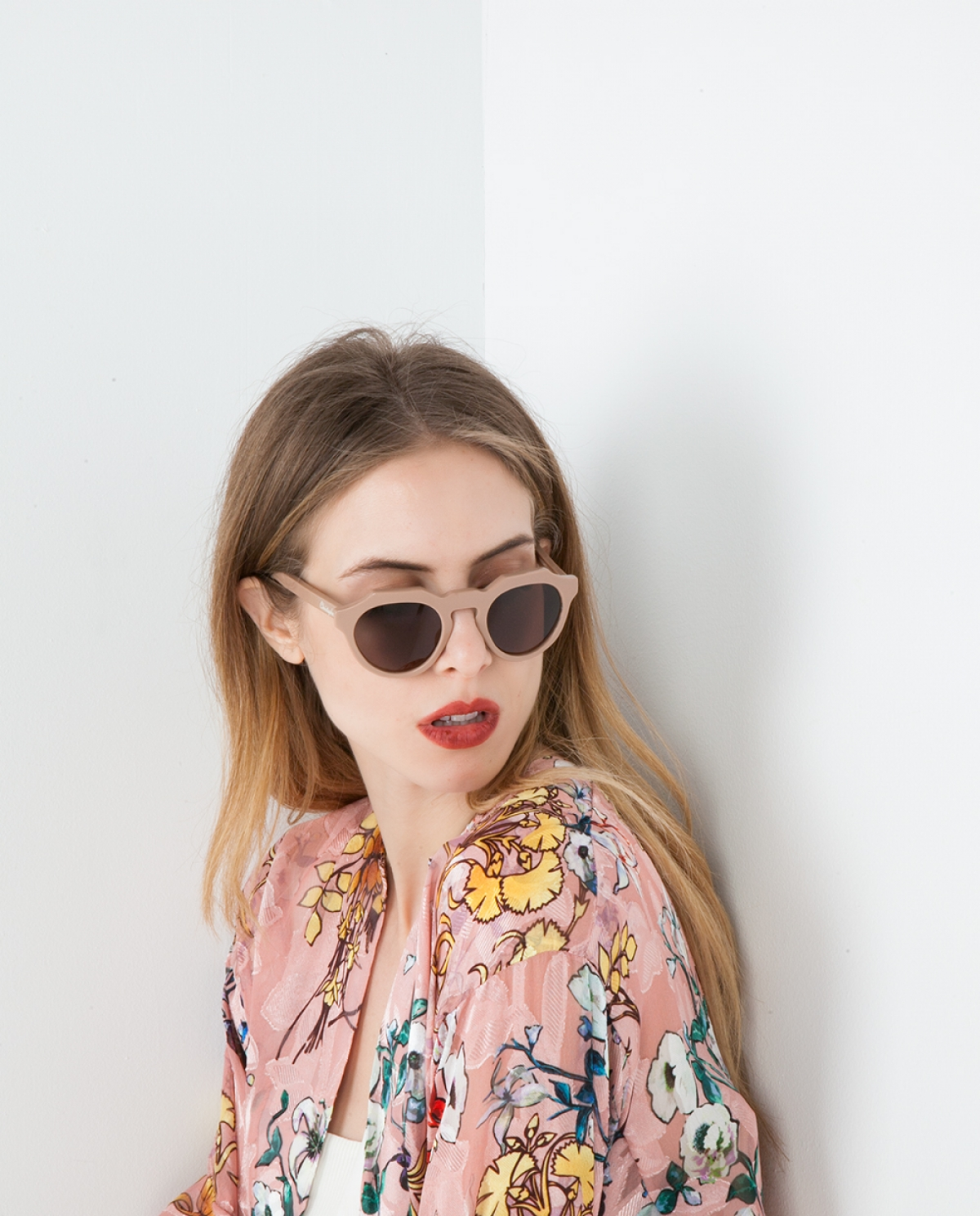 Nude Round-frame Acetate Sunglasses