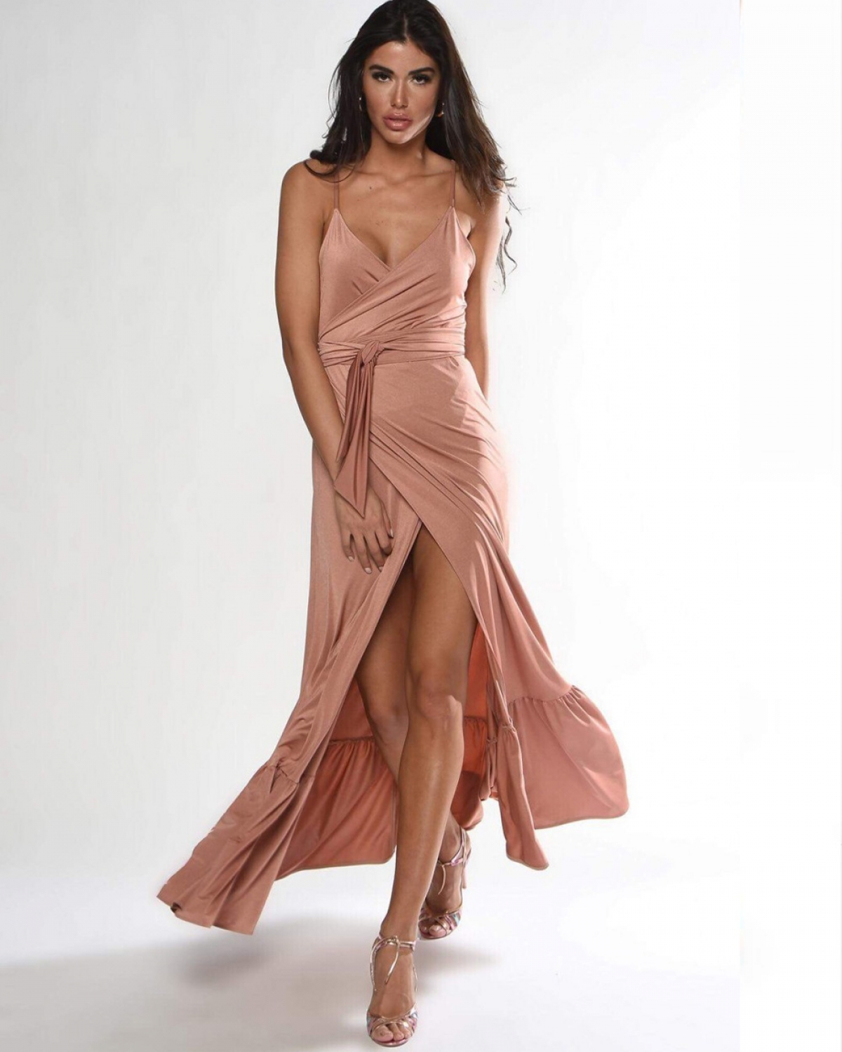 Nude Wrap Maxi Dress