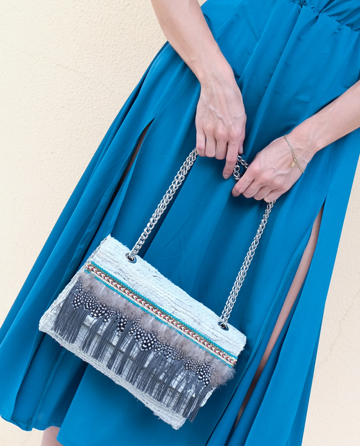 Off White Feathered Shoulder Bag