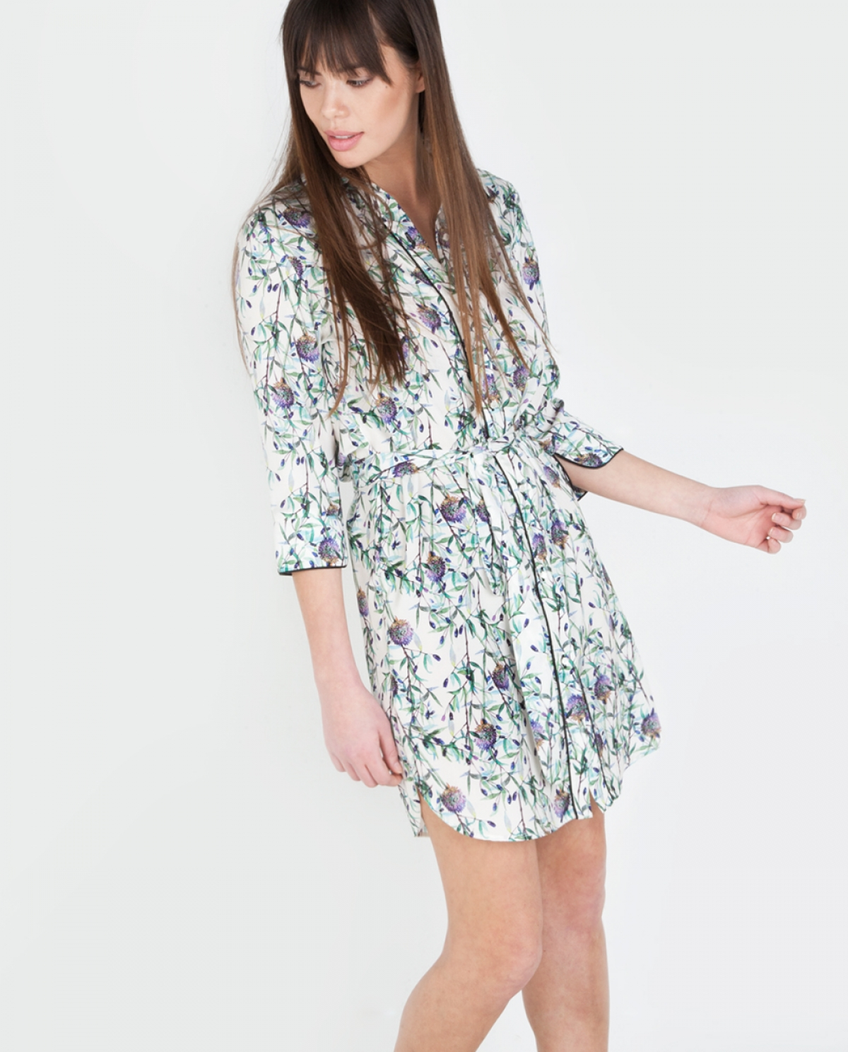 Olive Printed Shirt-dress