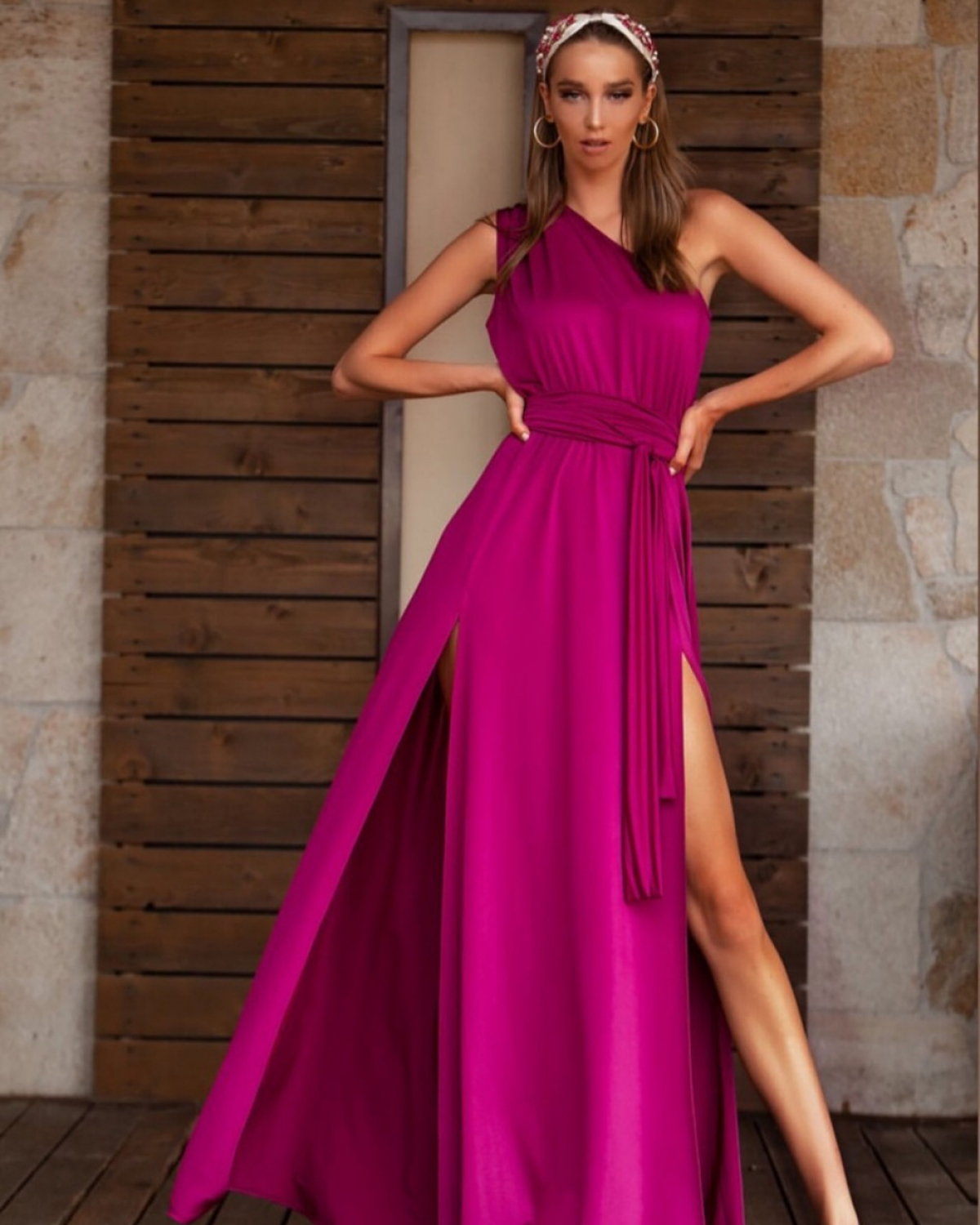 One Shoulder Magenta Maxi Dress