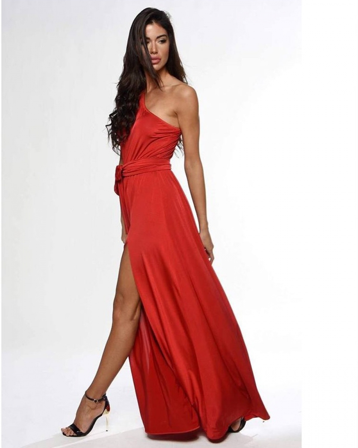 One Shoulder Red Maxi Dress
