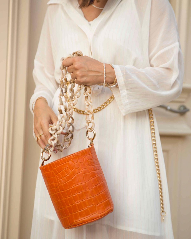 Orange Long Chain Pot