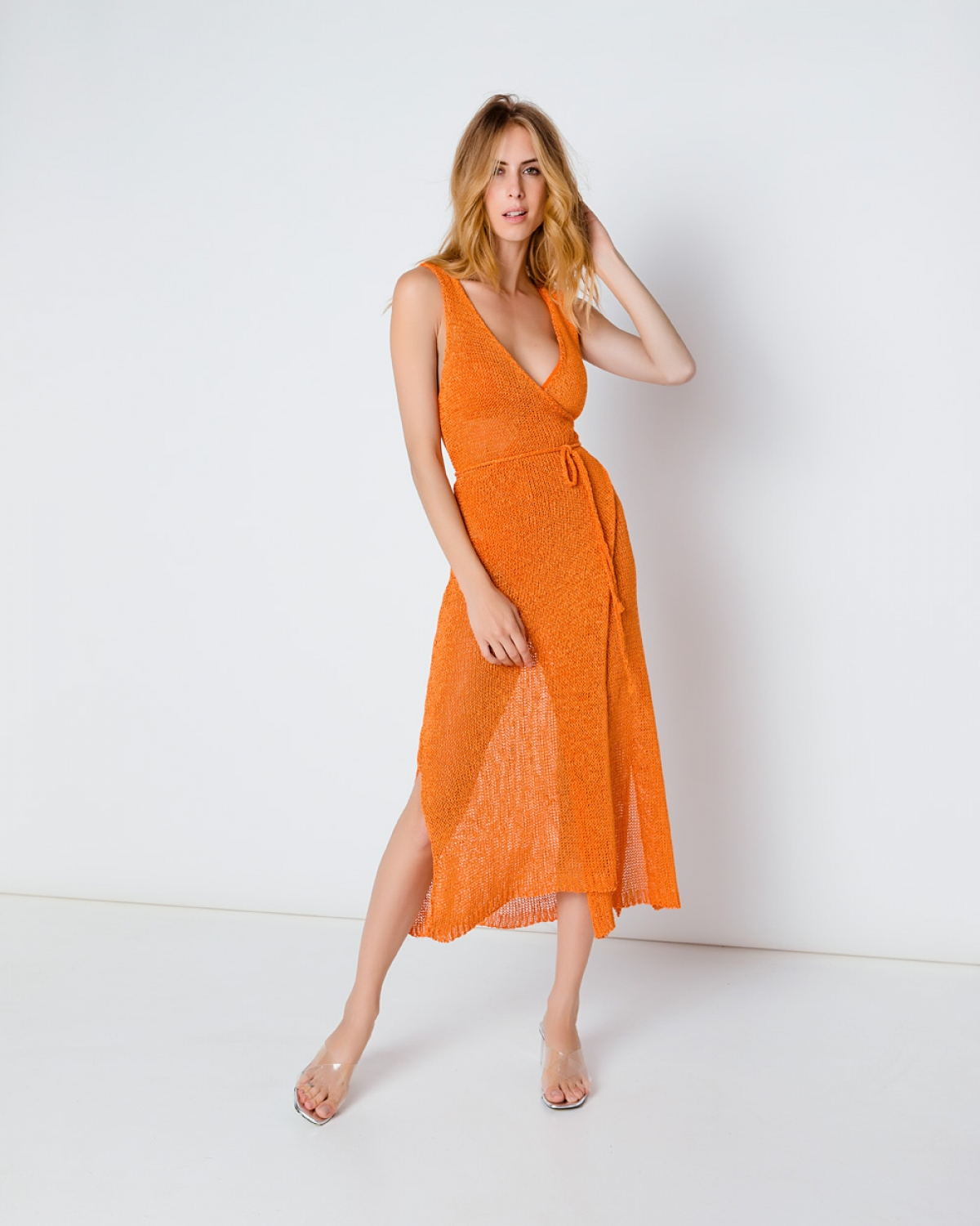 Orange Maxi Waisted Dress