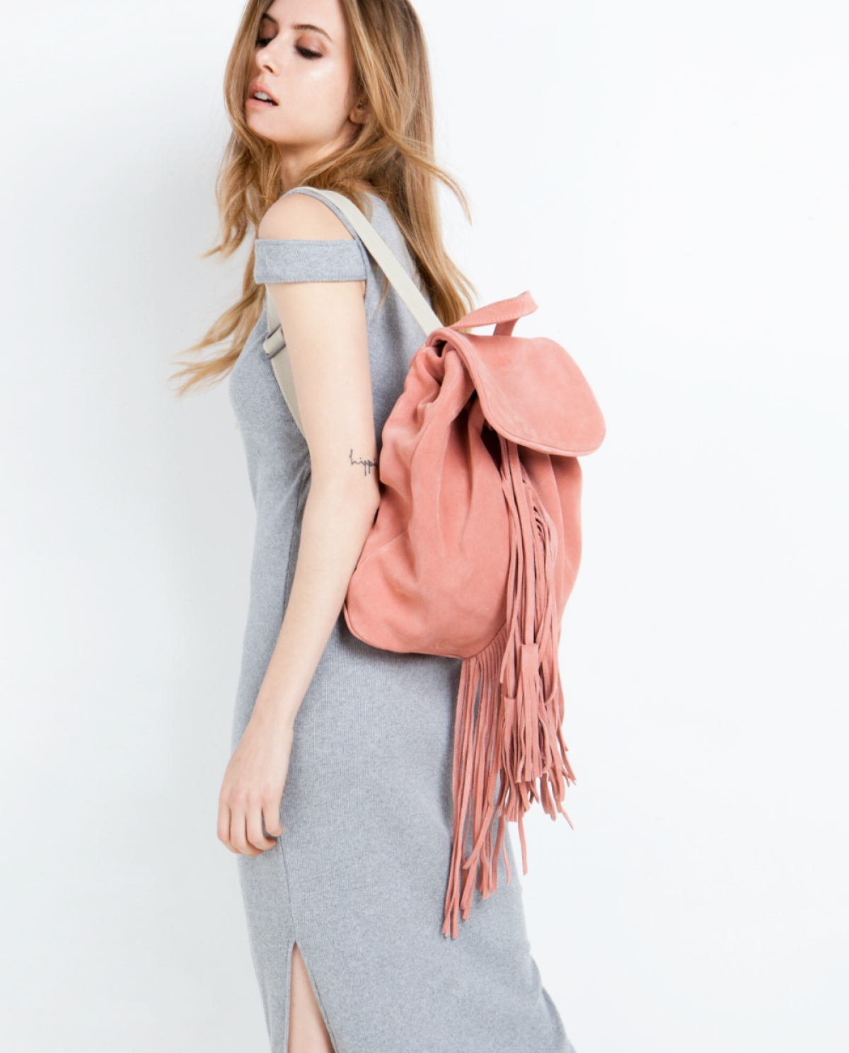 Salmon Suede Backpack