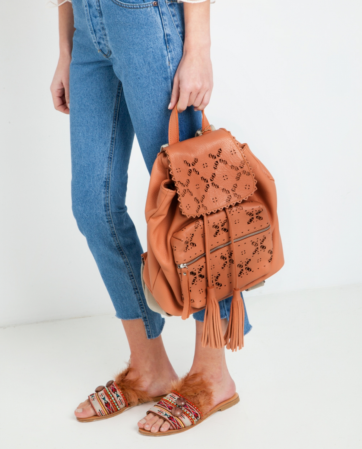 Peach Laser-cut Leather Backpack