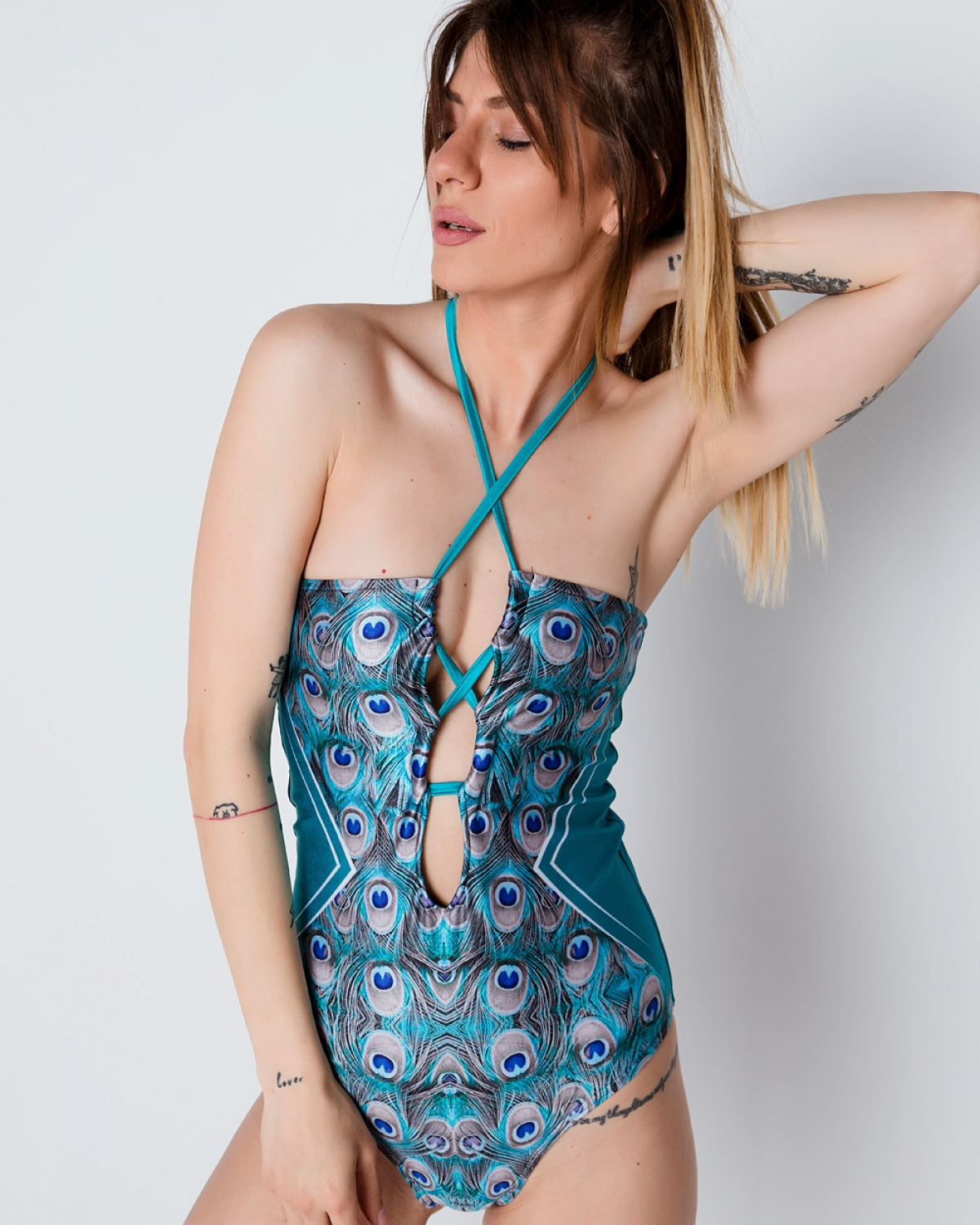 Peackock Lovers Lace Up Swimsuit