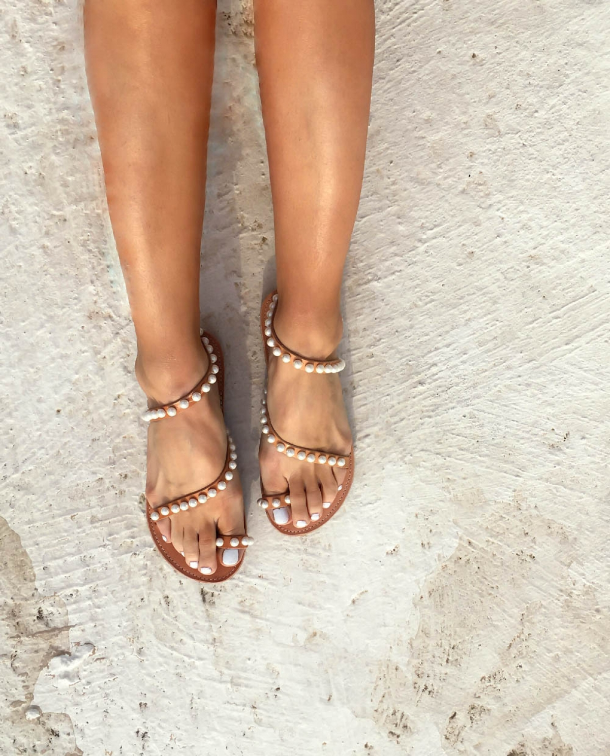 Pearl-embellished Leather Sandals