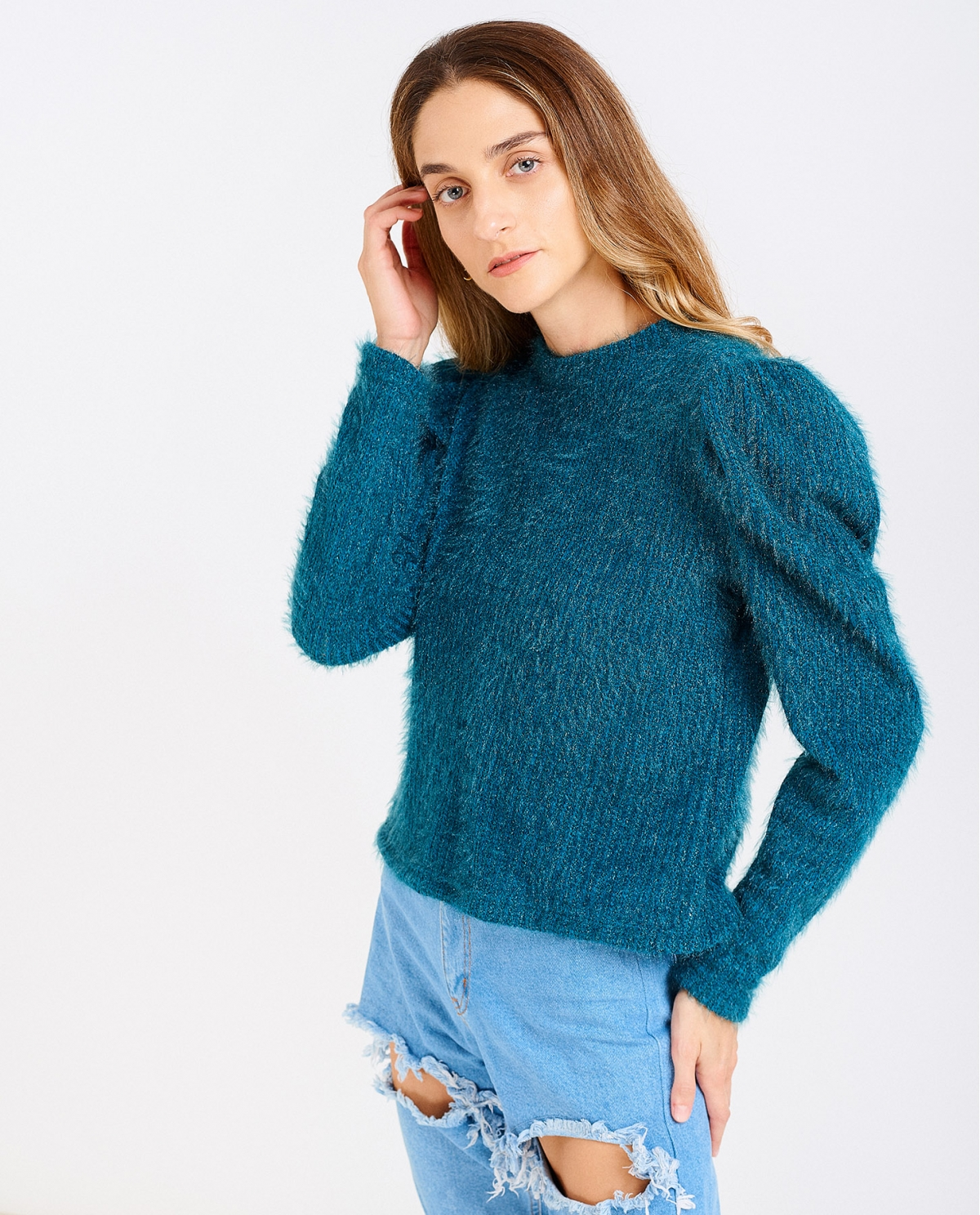 Puffed-sleeves Petrol Sweater
