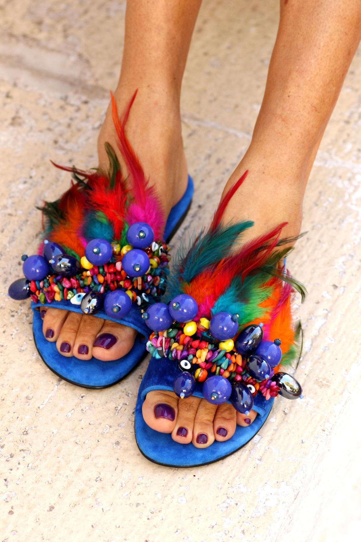 690f8dff6 Phuket Feather-embellished Sandals - Fashionnoiz