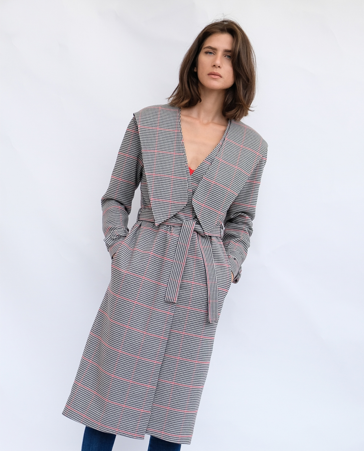 Houndstooth Viscose Coat