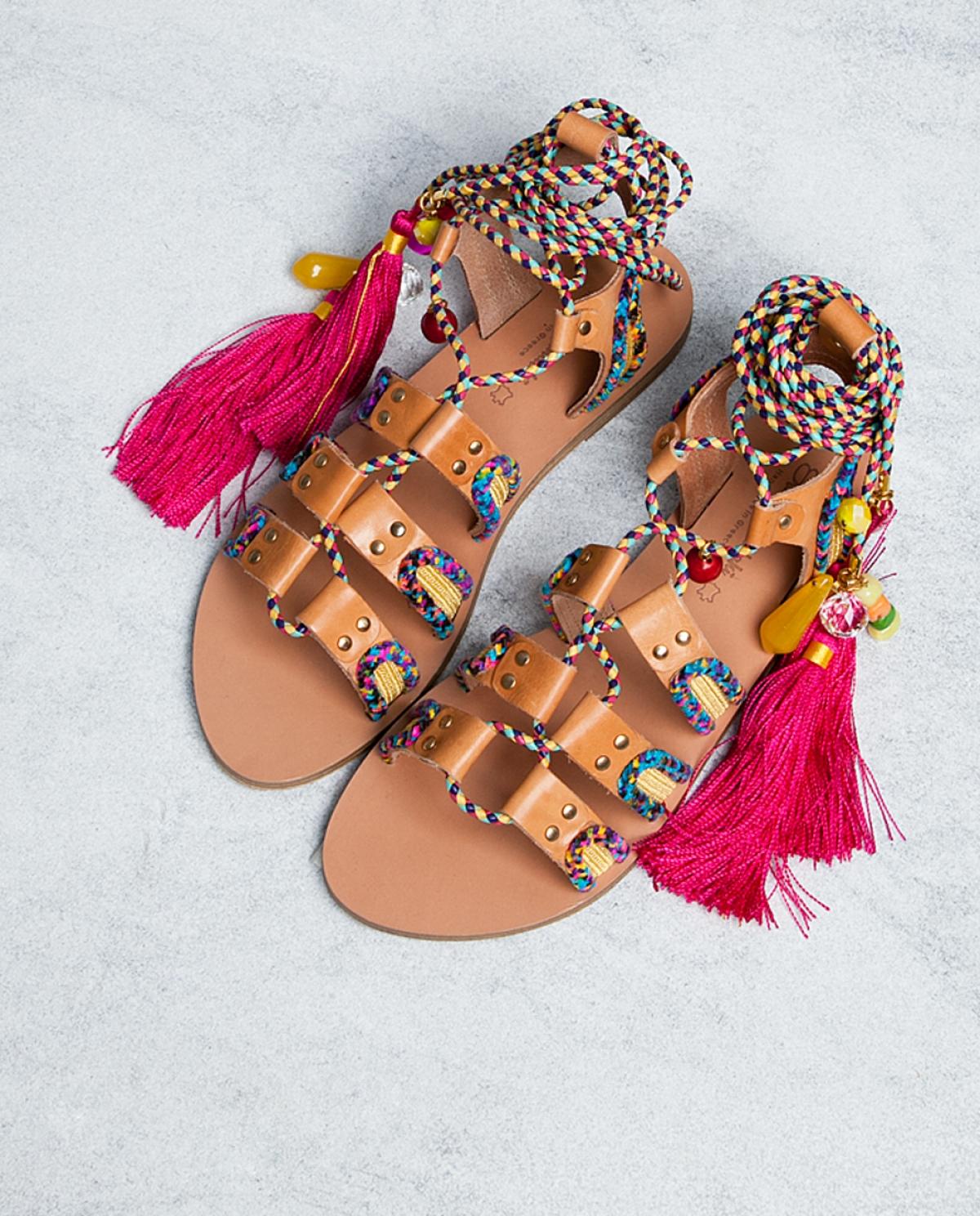 d2859f66d Pisces Embellished Leather Sandals - Fashionnoiz
