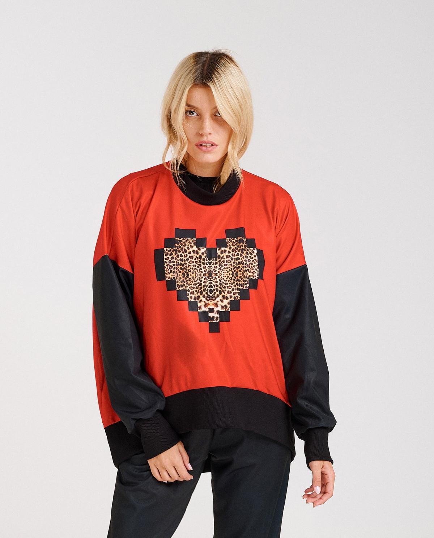 Pixel Red Oversized Sweatshirt