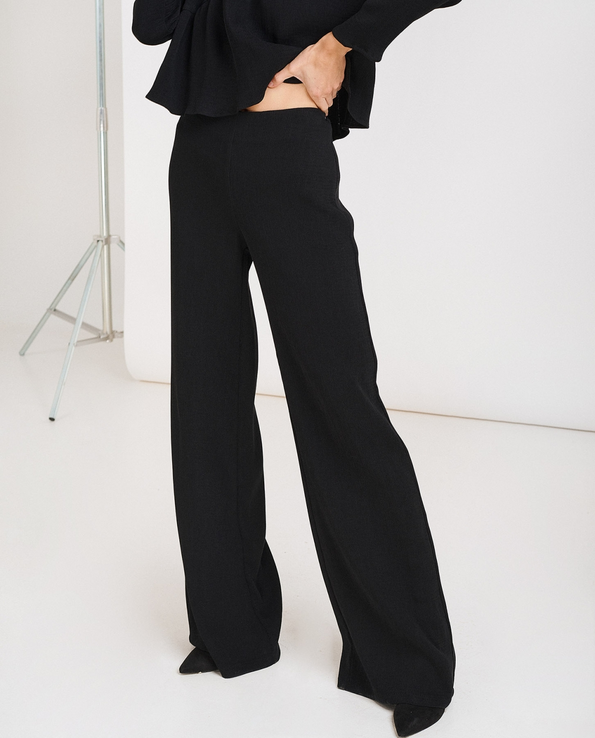 Plisse Wide-Leg Trousers
