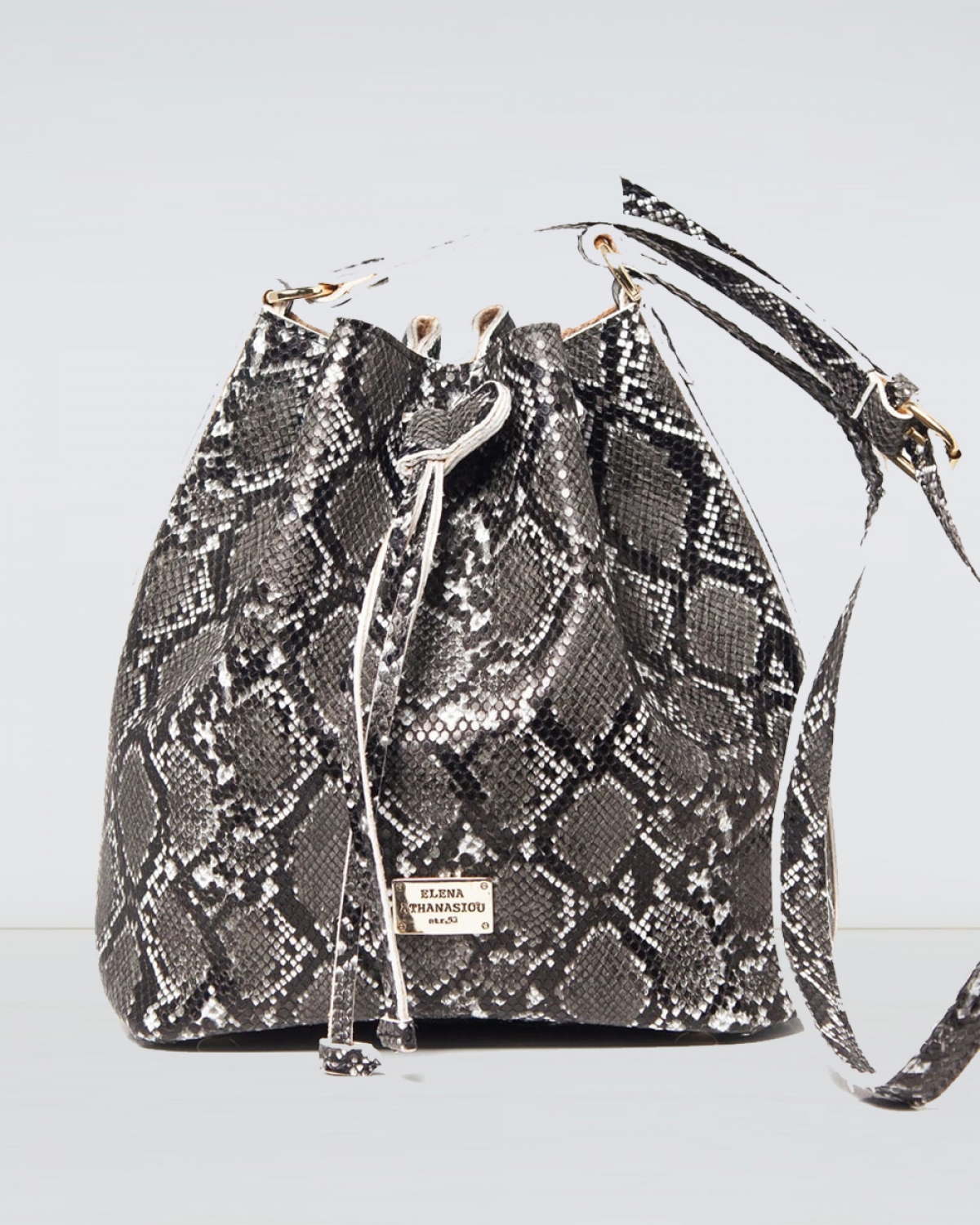 Pouch Bag Soft Snake Pattern Black