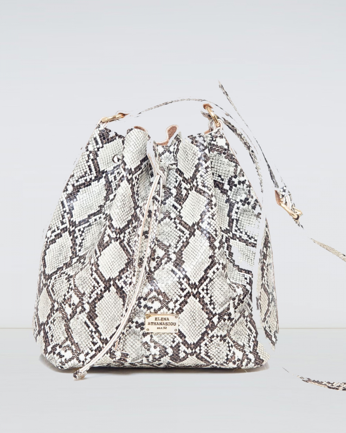 Pouch Bag Soft Snake Pattern Sand