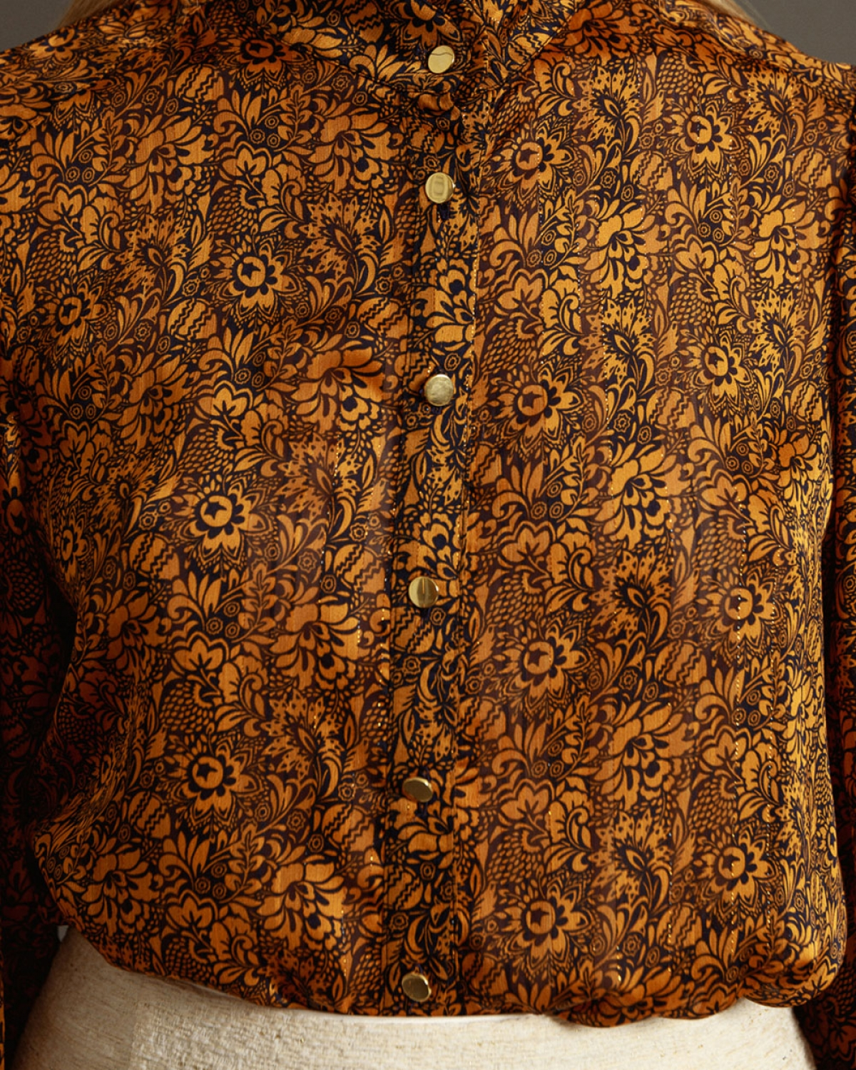 Printed Shirt With Gold Buttons