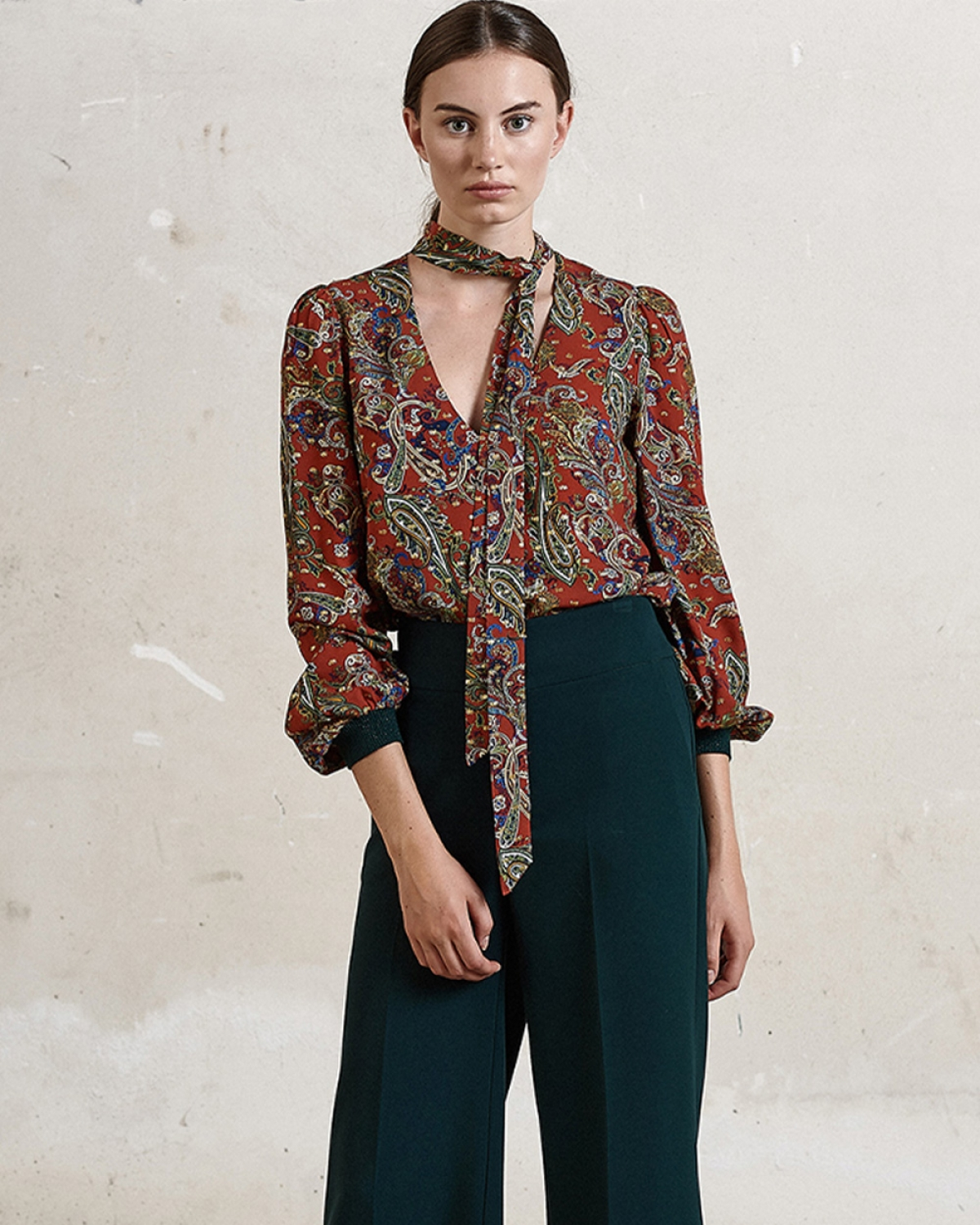 Printed Silk-twill Blouse