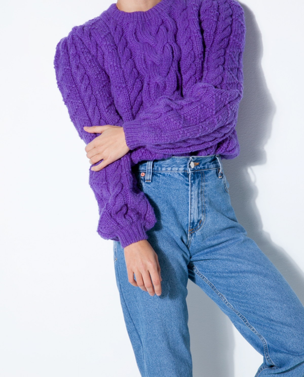 Purple Cable-knit Wool Sweater - Fashionnoiz