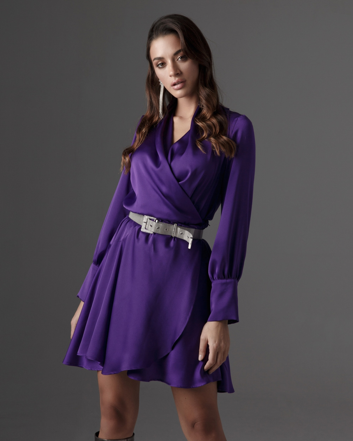 Purple Silk Mini Dress