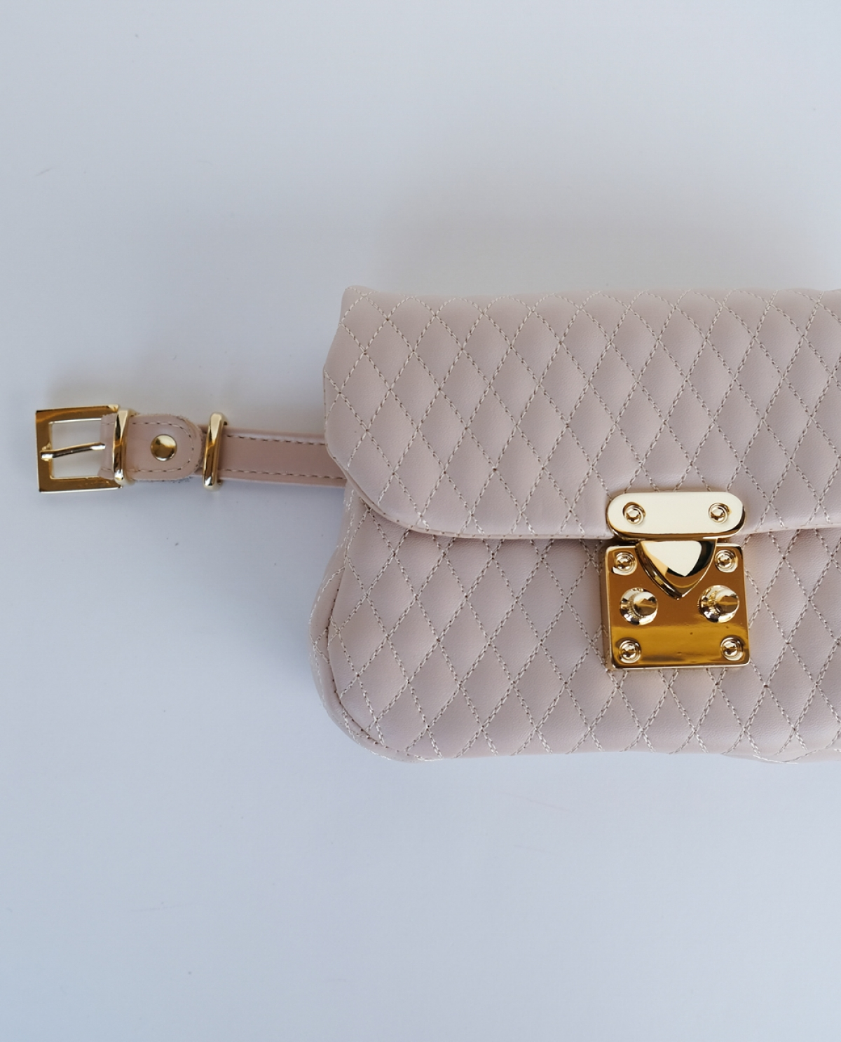 City Lady Quilted Leather Belt Bag Beige