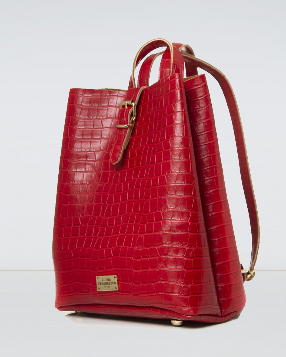 Red Croco Pattern Backpack