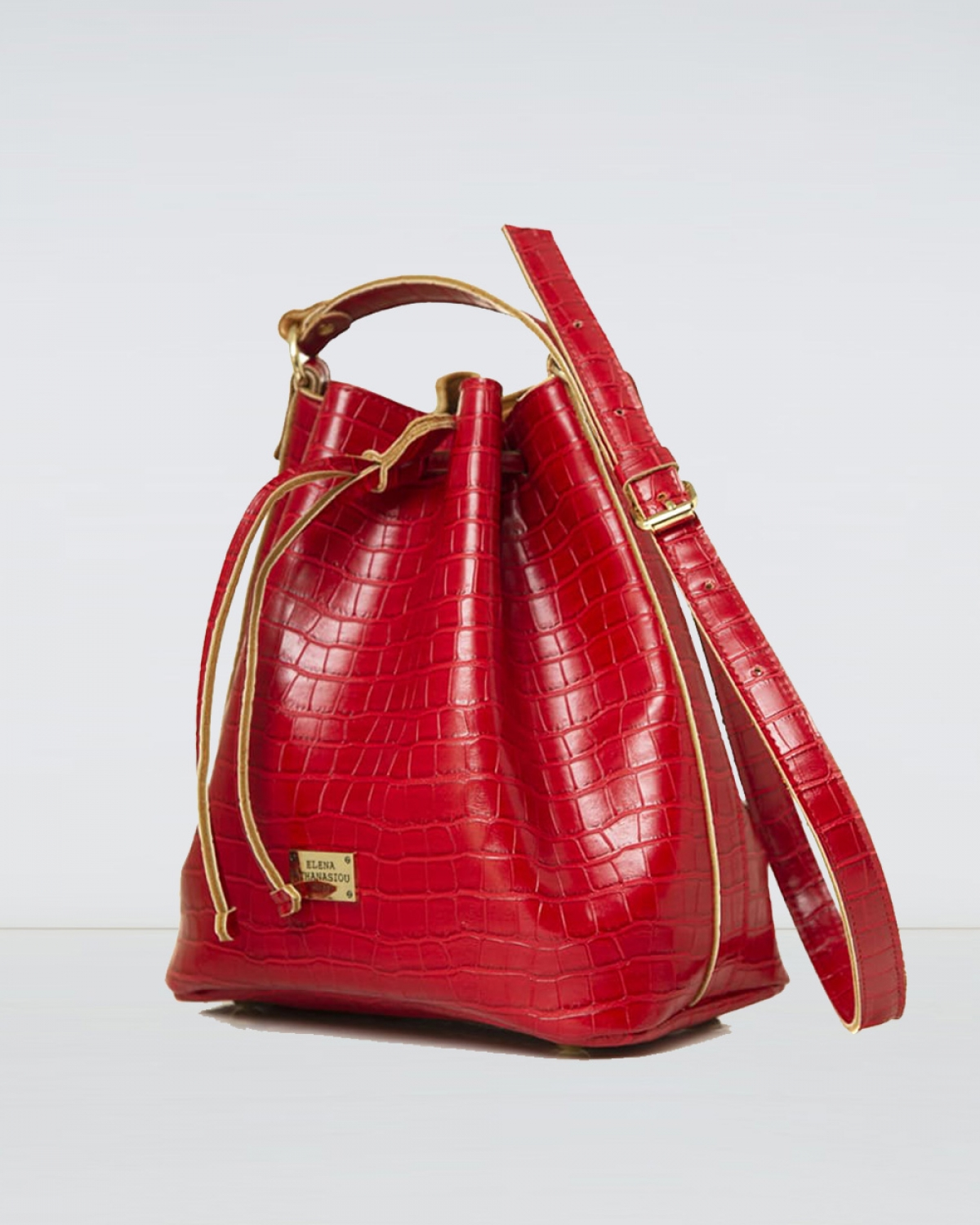 Red Croco Pattern Pouch Bag