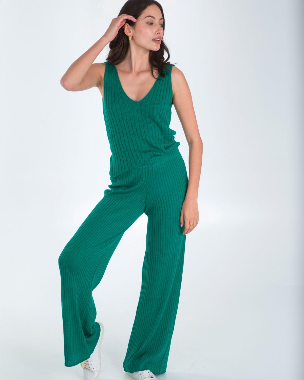 Ribbed Knit Green Pants