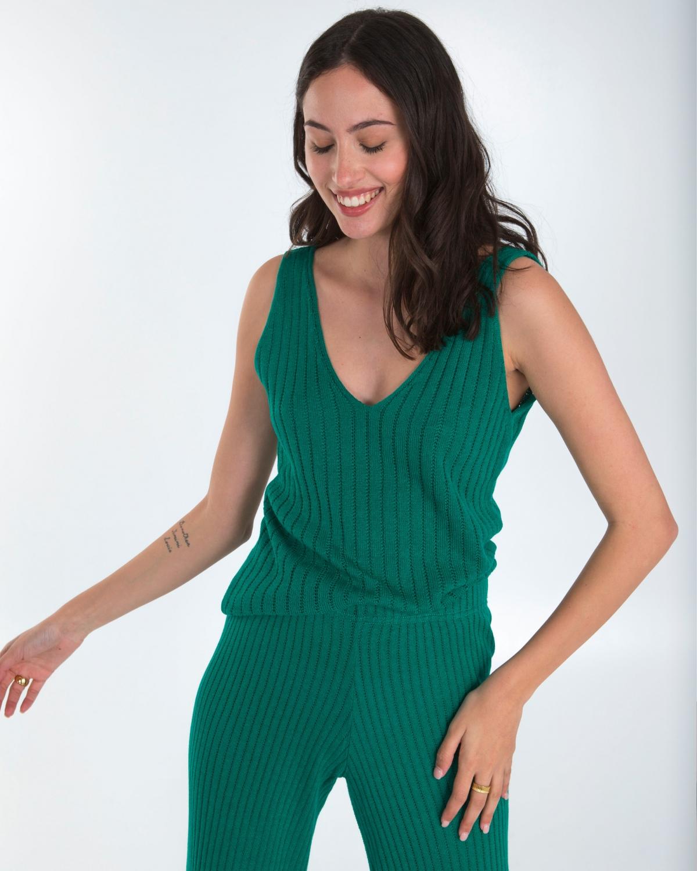 Ribbed Knit Green Top