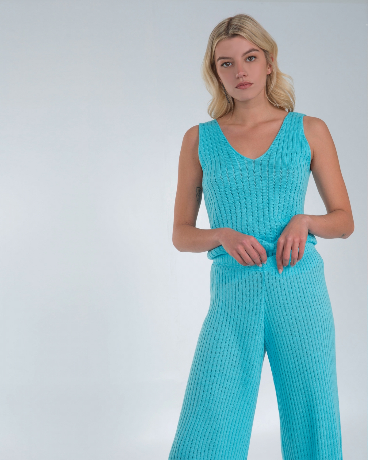 Ribbed Knit Blue Top