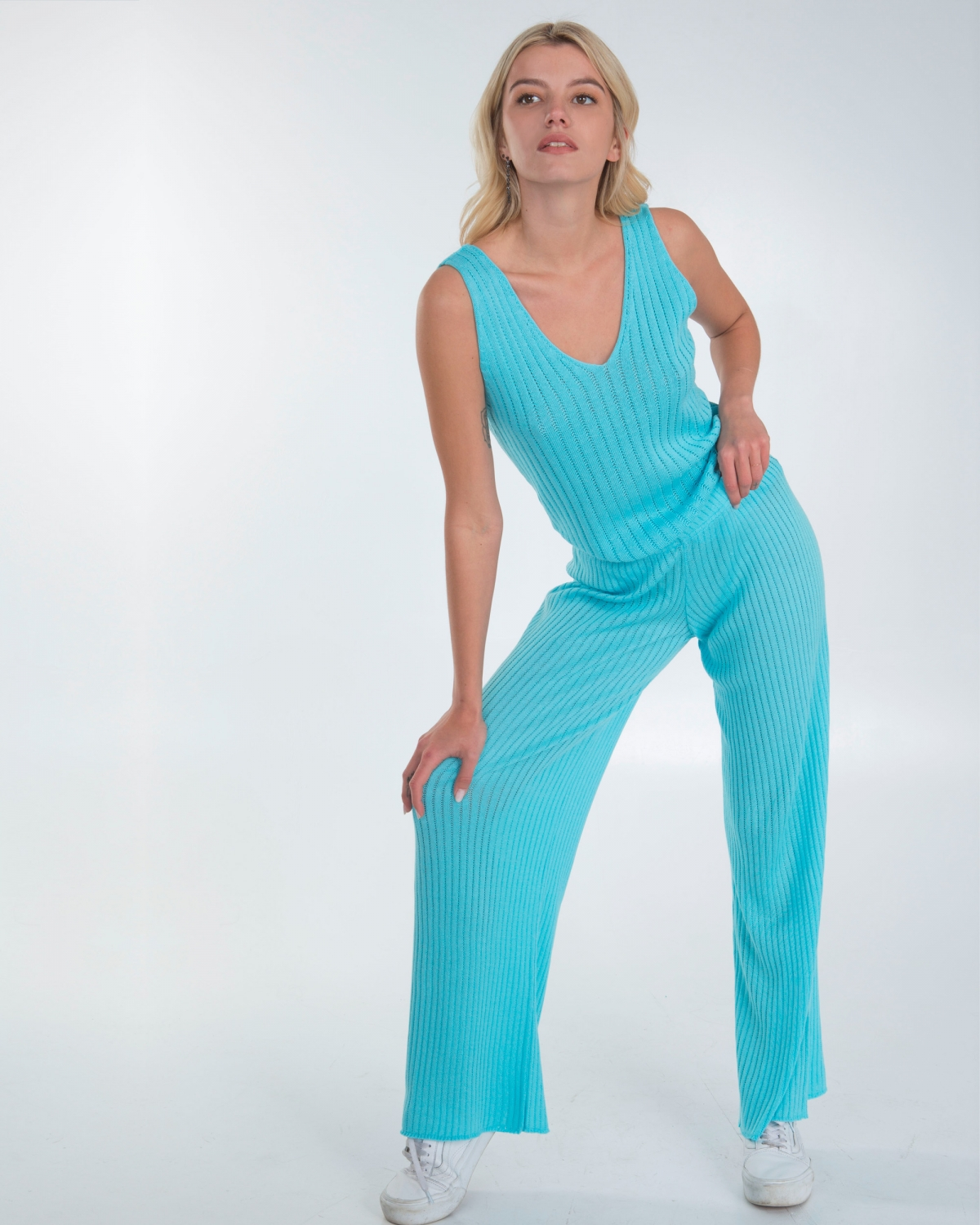 Ribbed Knit Turquoise Pants