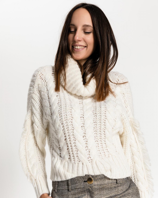 Ribbed-knit Turtleneck Ecru Sweater