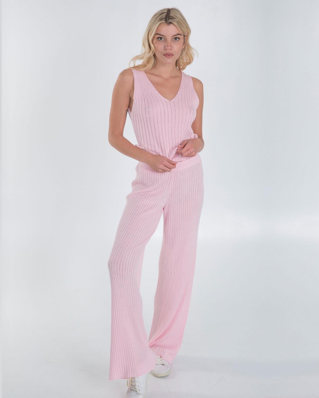 Ribbed Knit Pink Top