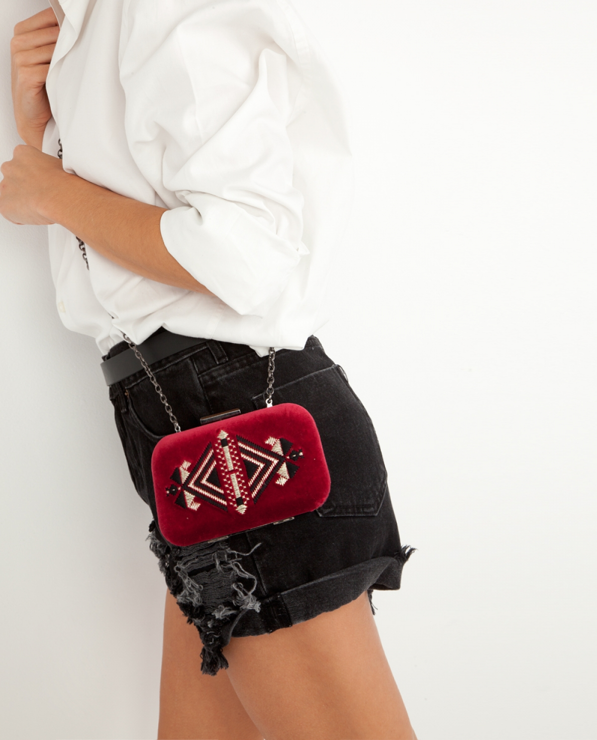 Ruby Embroidered Velvet Clutch