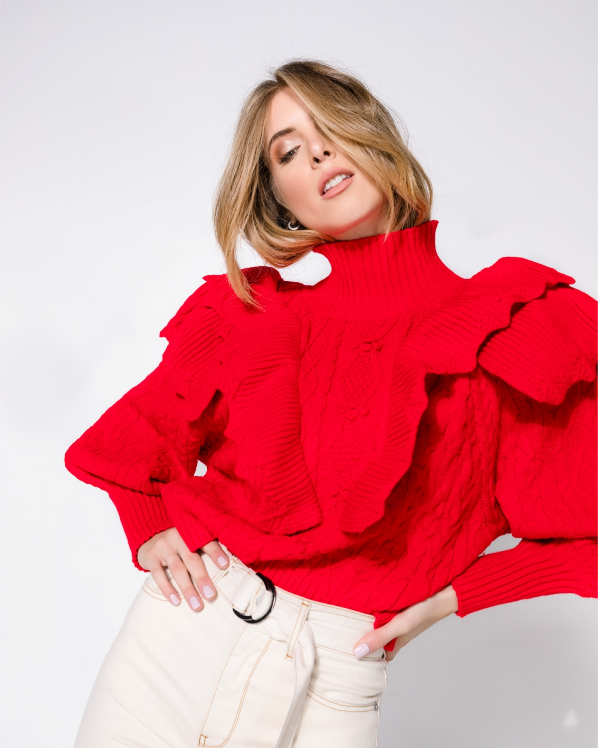 Ruffled Red Sweater