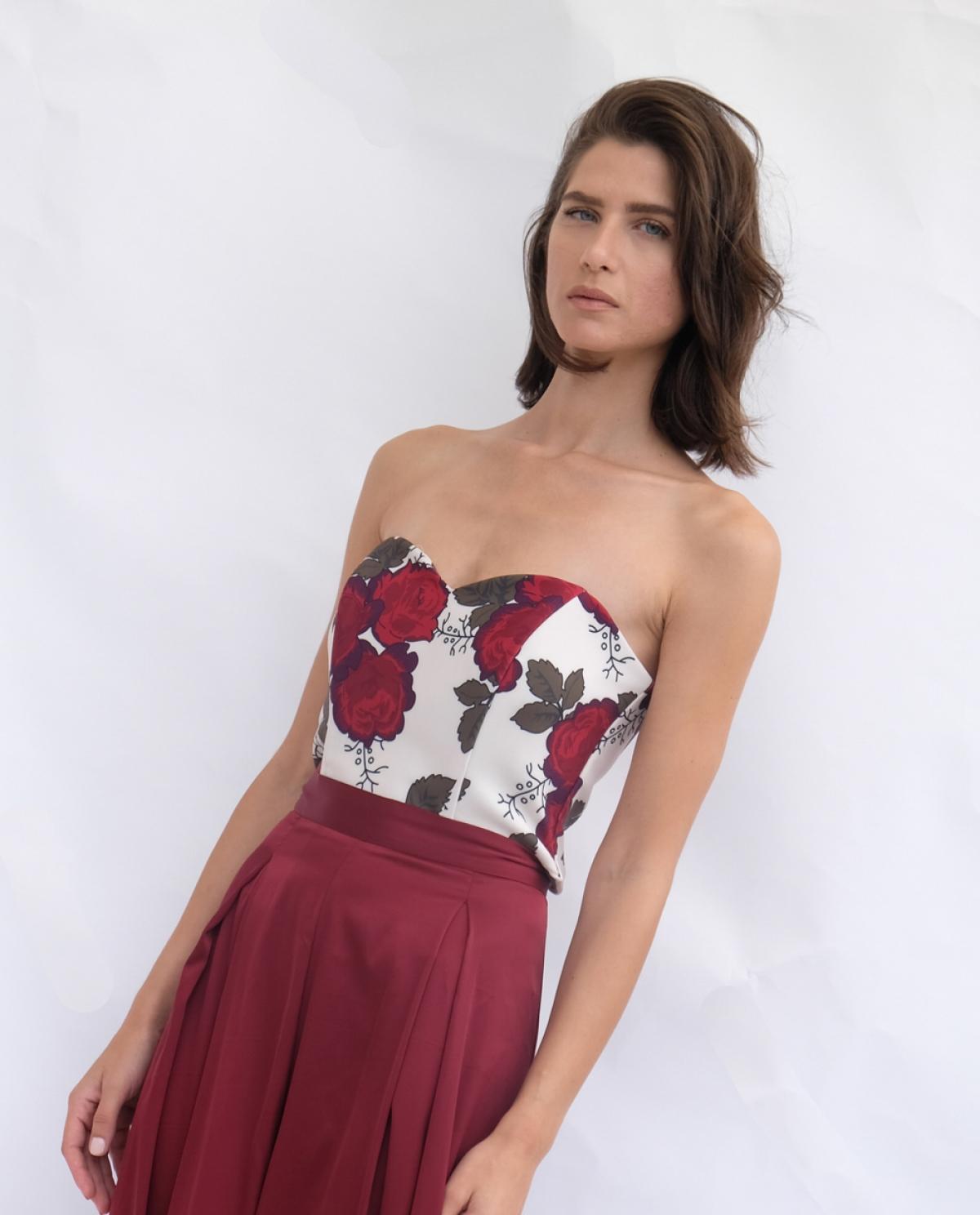 be573cc4428fe Satin Floral-print Crop Top - Fashionnoiz