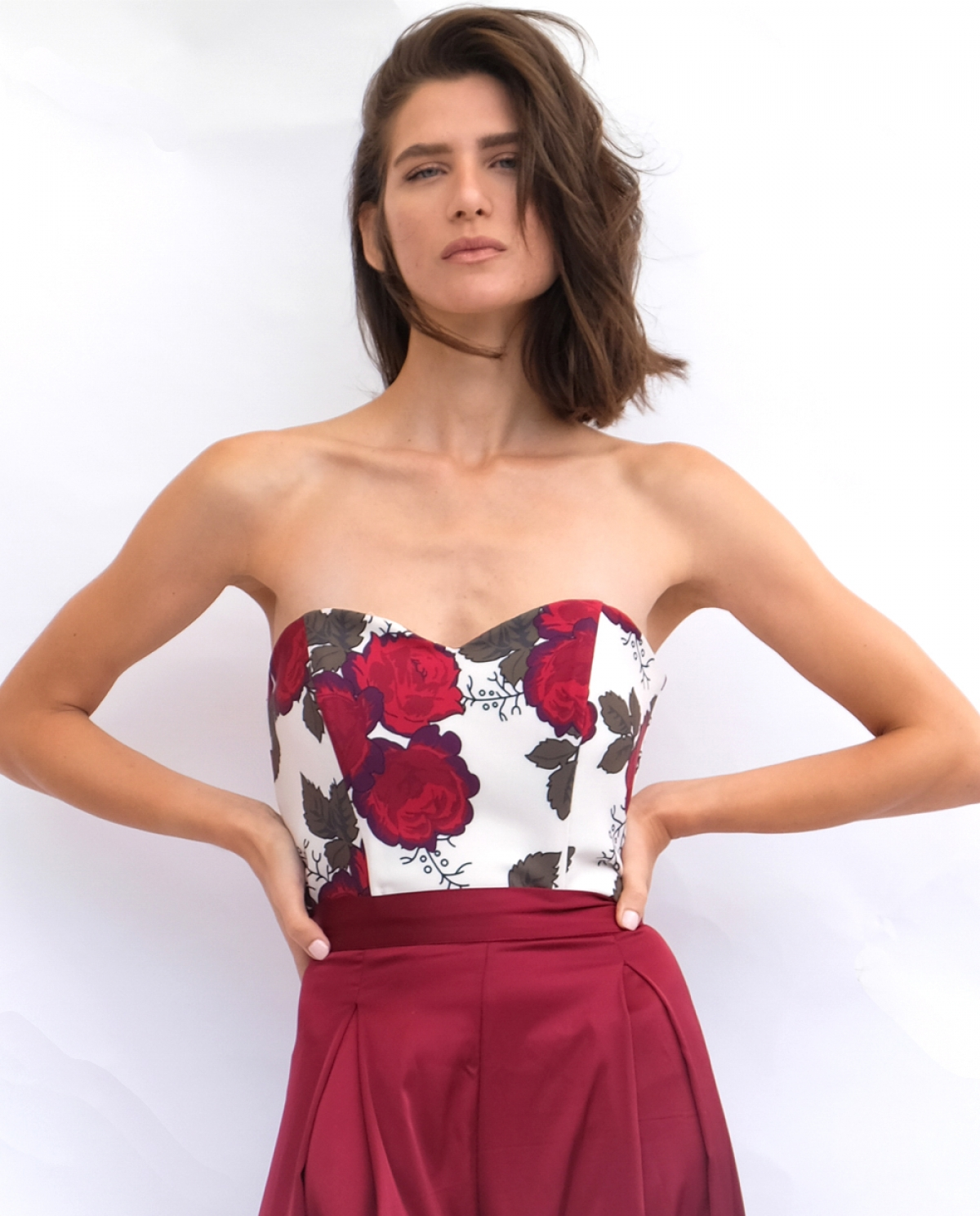 Satin Floral-print Crop Top
