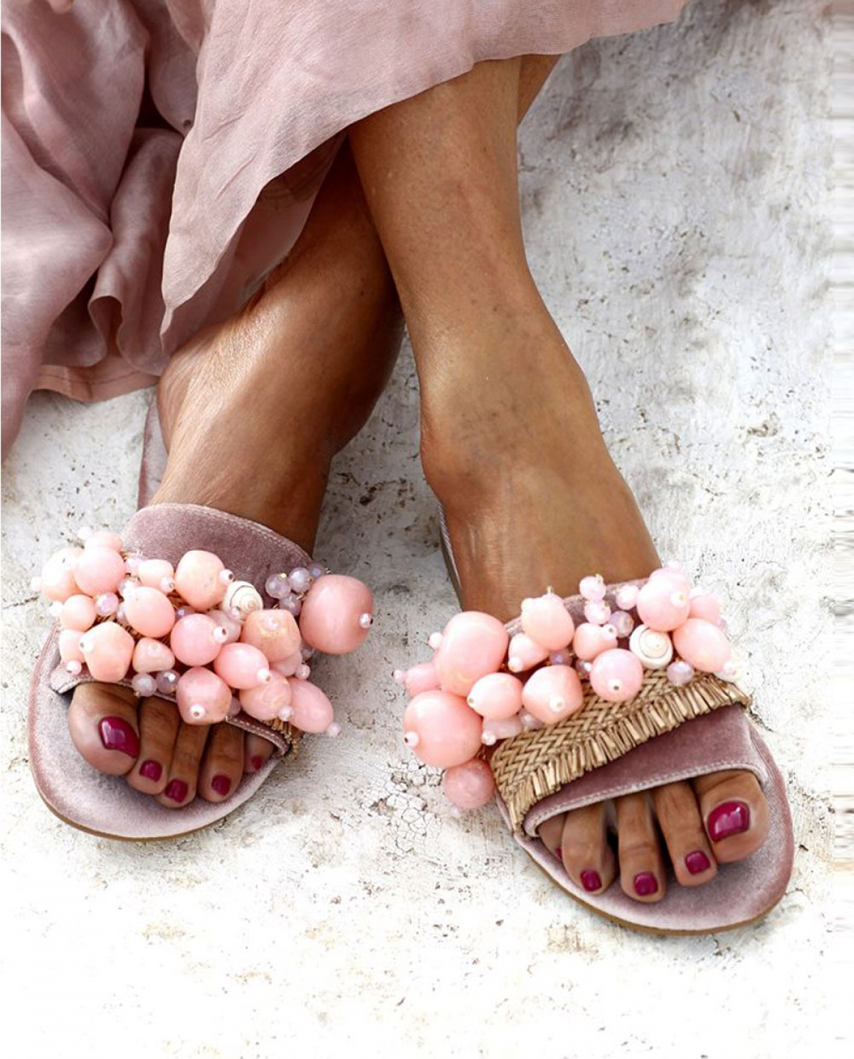 Sel Rosé Embellished Sandals