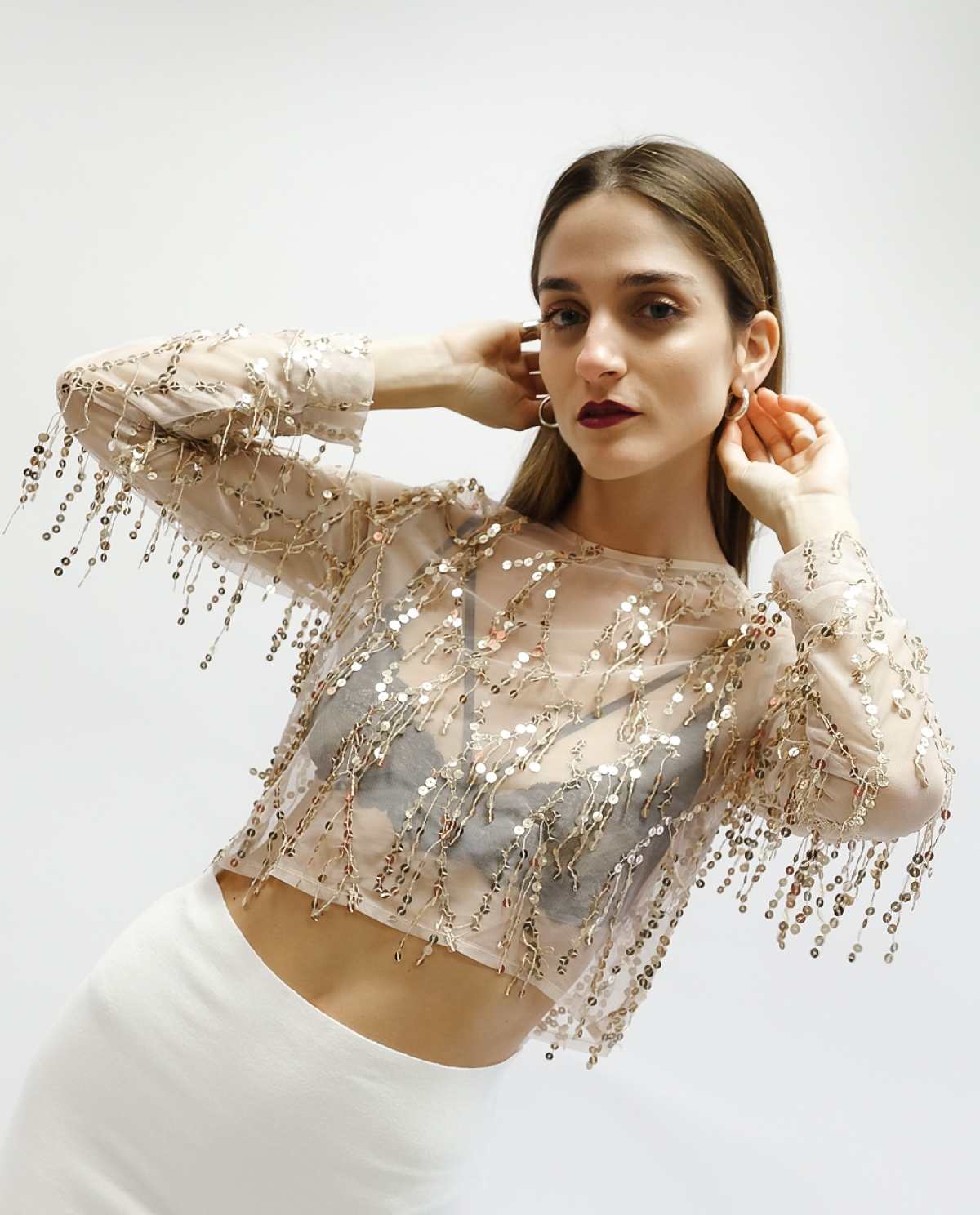 Sequin-embellished Tulle Beige Top