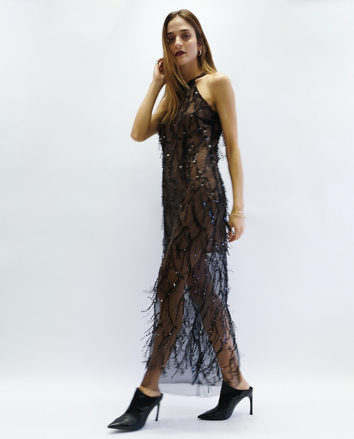 6ff6efa997a96 Sequined Tulle Black Maxi Dress - Fashionnoiz