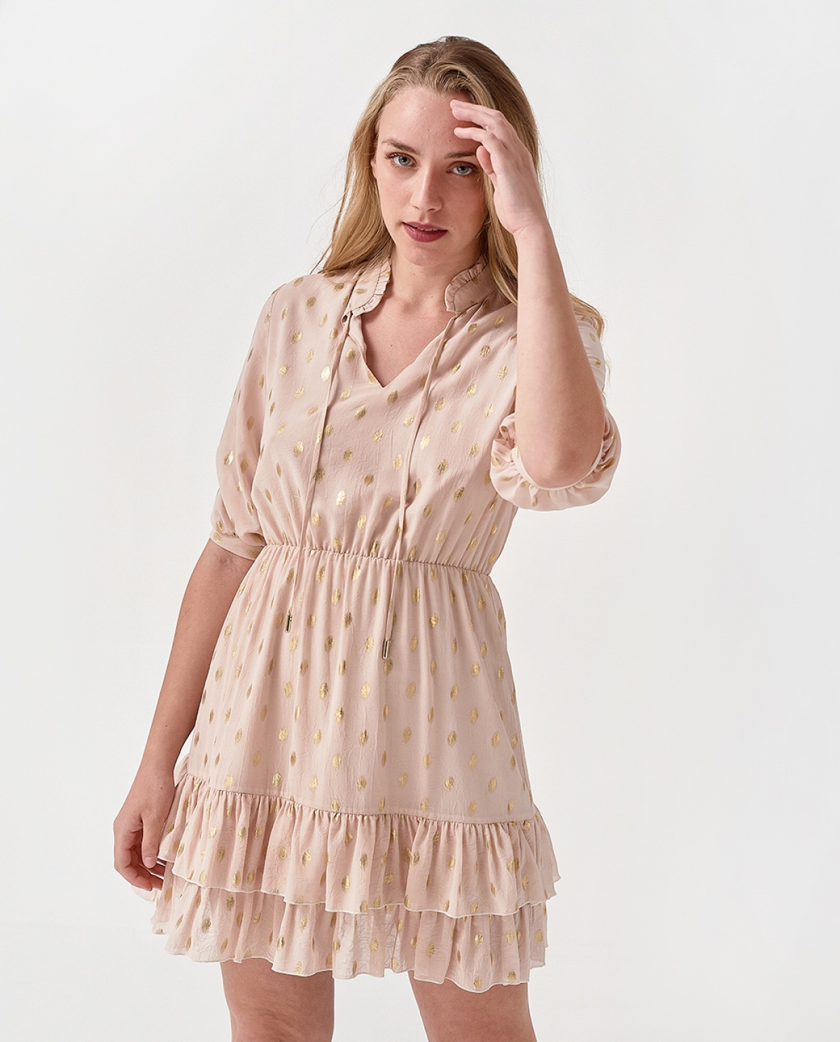Shirred Beige Dress
