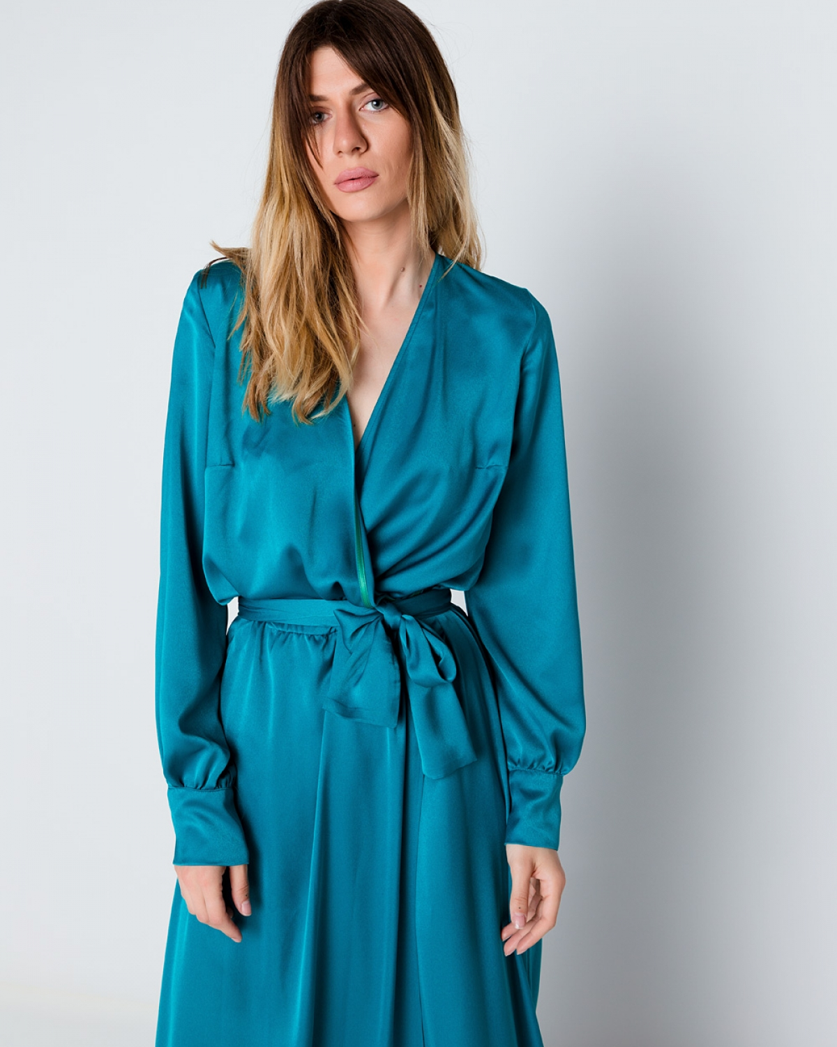 Silk Maxi Blue Wrap Dress