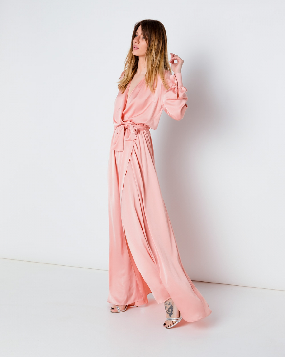 Silk Maxi Pink Wrap Dress