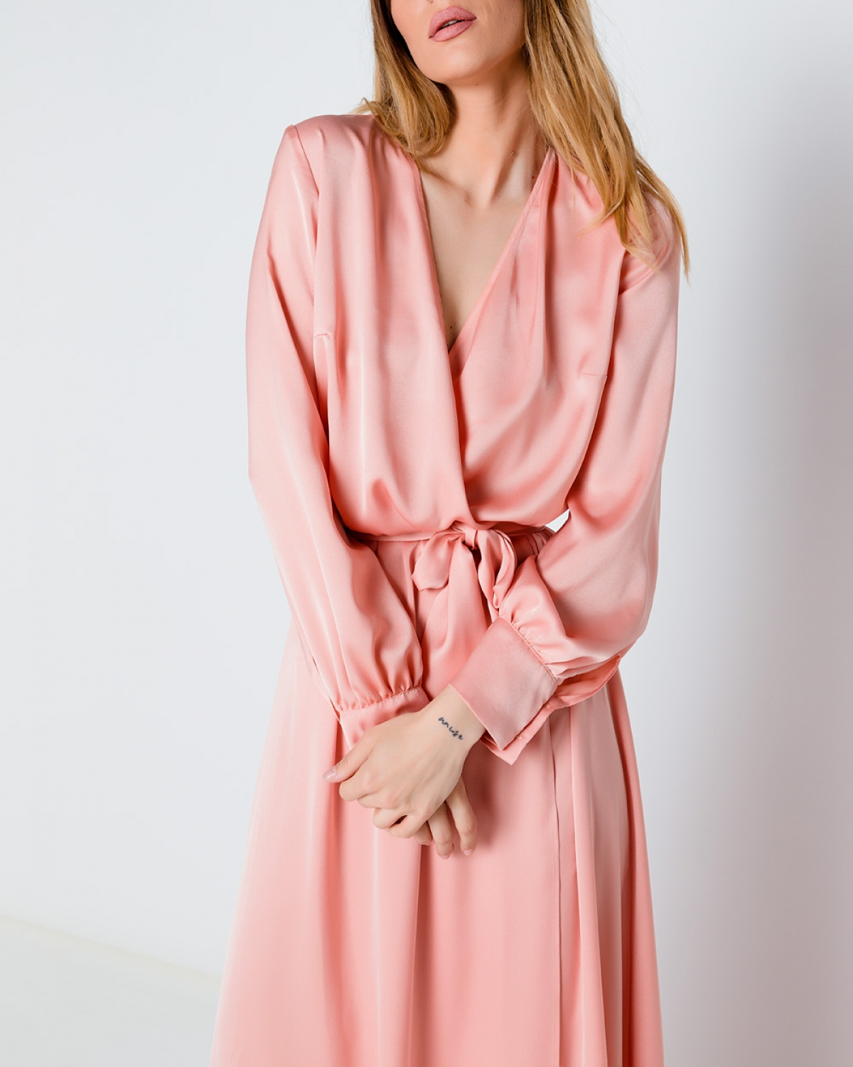 fefa4f0bda3c2 Silk Maxi Pink Wrap Dress - Fashionnoiz