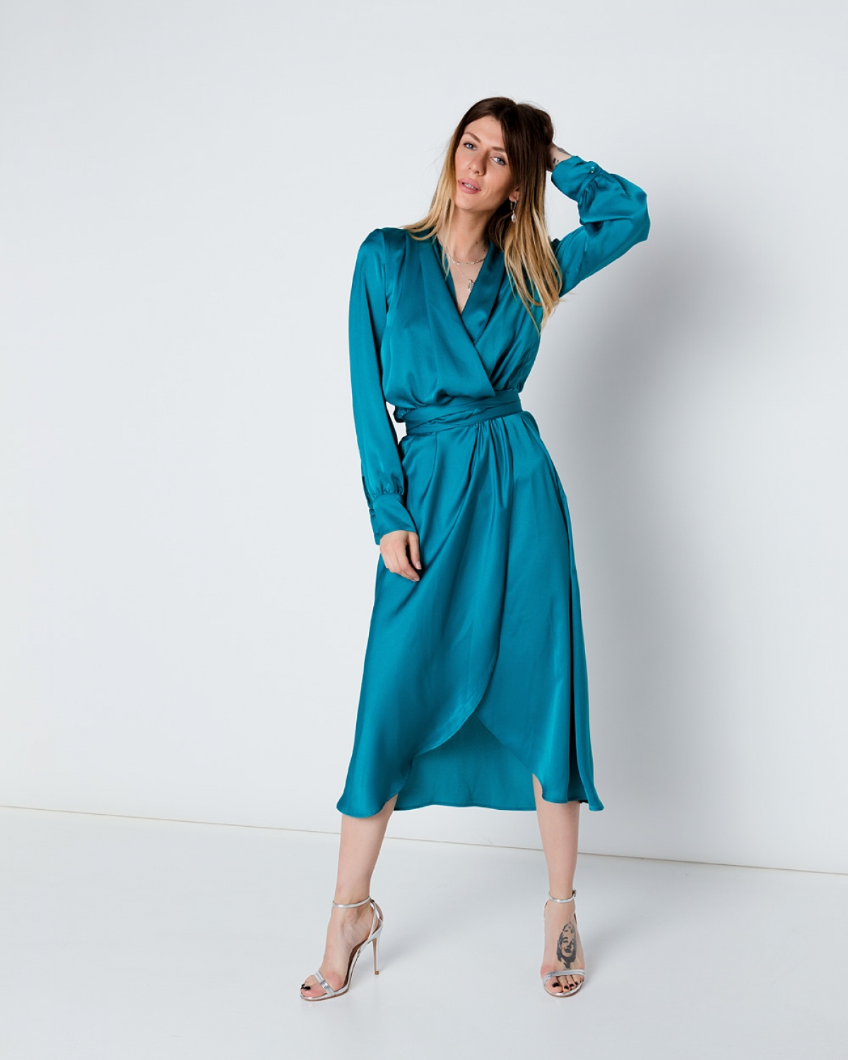 Silk Mini Blue Wrap Dress