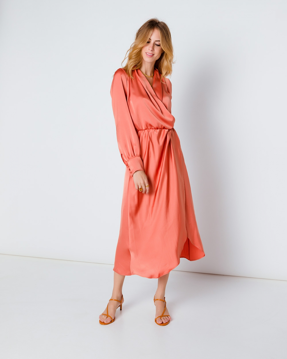 Silk Mini Orange Wrap Dress