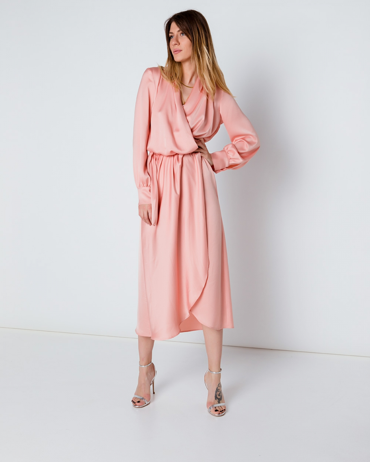 Silk Mini Pink Wrap Dress